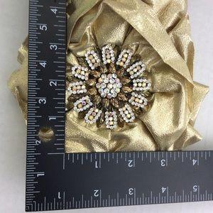 Vintage Accessories - Gold Metallic Headband Hat Vintage Brooch Rosette